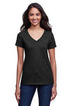 Next Level N4240 Womens Eco Performance Moisture Wicking Short Sleeve V-Neck T-Shirt Heather Black Front