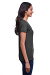 Next Level N4240 Womens Eco Performance Moisture Wicking Short Sleeve V-Neck T-Shirt Heather Black Side