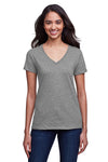 Next Level N4240 Womens Eco Performance Moisture Wicking Short Sleeve V-Neck T-Shirt Heather Dark Grey Front