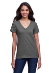 Next Level N4240 Womens Eco Performance Moisture Wicking Short Sleeve V-Neck T-Shirt Heavy Metal Grey Front