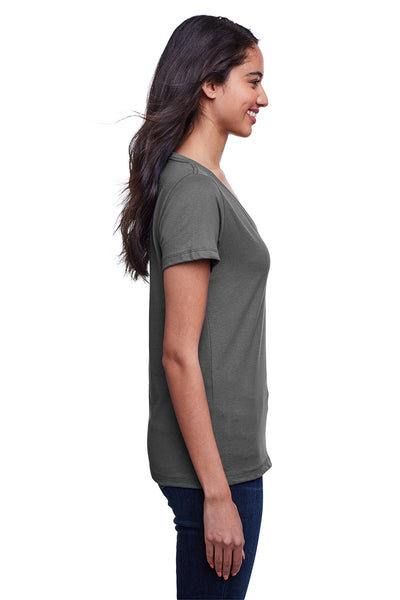 Next Level N4240 Womens Eco Performance Moisture Wicking Short Sleeve V-Neck T-Shirt Heavy Metal Grey Side
