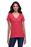 Next Level N4240 Womens Eco Performance Moisture Wicking Short Sleeve V-Neck T-Shirt Heather Red Front