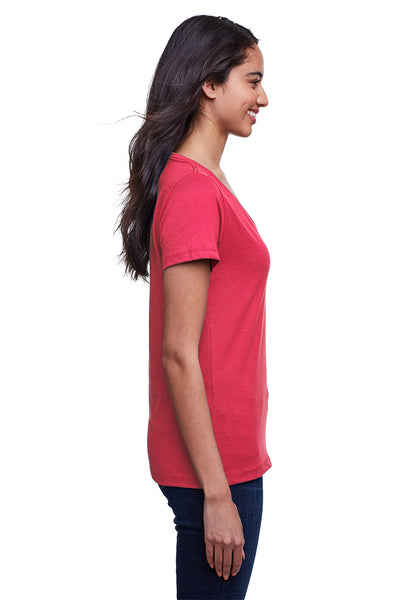 Next Level N4240 Womens Eco Performance Moisture Wicking Short Sleeve V-Neck T-Shirt Heather Red Side