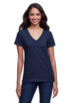Next Level N4240 Womens Eco Performance Moisture Wicking Short Sleeve V-Neck T-Shirt Navy Blue Front