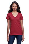 Next Level N4240 Womens Eco Performance Moisture Wicking Short Sleeve V-Neck T-Shirt Cardinal Red Front