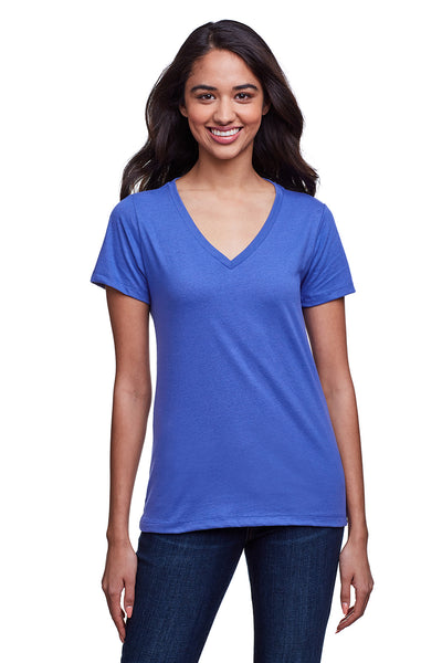 Next Level N4240 Womens Eco Performance Moisture Wicking Short Sleeve V-Neck T-Shirt Heather Sapphire Blue Front