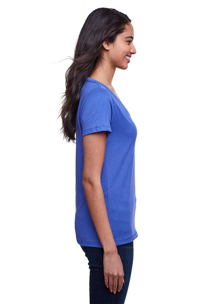 Next Level N4240 Womens Eco Performance Moisture Wicking Short Sleeve V-Neck T-Shirt Heather Sapphire Blue Side