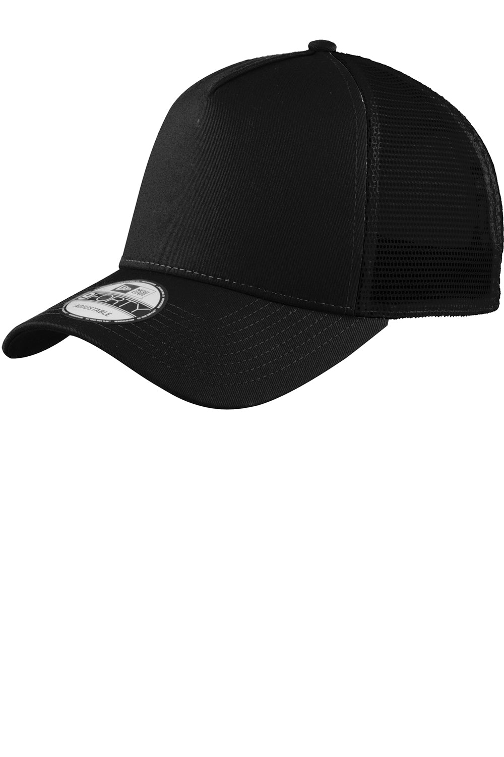 New Era NE205 Mens Adjustable Trucker Hat Black Front
