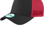 New Era Mens Adjustable Trucker Hat - Black/Scarlet Red
