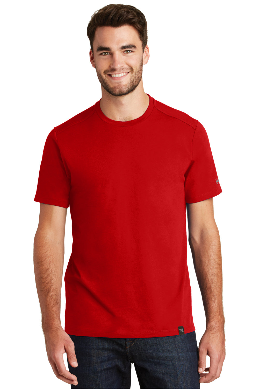 New Era NEA100 Mens Heritage Short Sleeve Crewneck T-Shirt Red Front