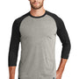 New Era Mens Heritage 3/4 Sleeve Crewneck T-Shirt - Black/Heather Rainstorm Grey