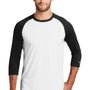 New Era Mens Heritage 3/4 Sleeve Crewneck T-Shirt - Black/White