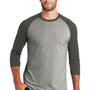 New Era Mens Heritage 3/4 Sleeve Crewneck T-Shirt - Graphite Grey/Light Graphite Grey Twist