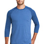 New Era Mens Heritage 3/4 Sleeve Crewneck T-Shirt - Royal Blue/Heather Royal Blue