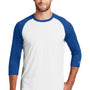 New Era Mens Heritage 3/4 Sleeve Crewneck T-Shirt - Royal Blue/White