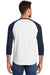 New Era NEA104 Mens Heritage 3/4 Sleeve Crewneck T-Shirt Navy Blue/White Back