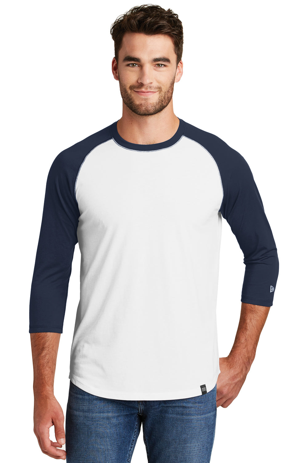 New Era NEA104 Mens Heritage 3/4 Sleeve Crewneck T-Shirt Navy Blue/White Front