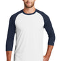 New Era Mens Heritage 3/4 Sleeve Crewneck T-Shirt - Navy Blue/White