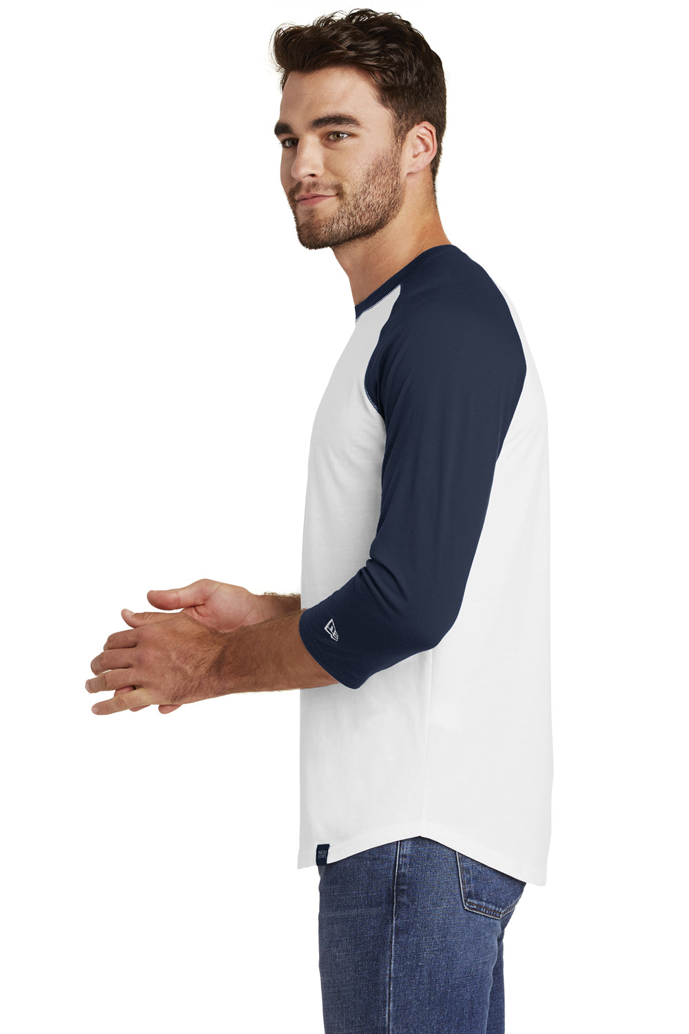 New Era NEA104 Mens Heritage 3/4 Sleeve Crewneck T-Shirt Navy Blue/White Side