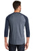 New Era NEA104 Mens Heritage 3/4 Sleeve Crewneck T-Shirt Navy Blue/Navy Blue Twist Back