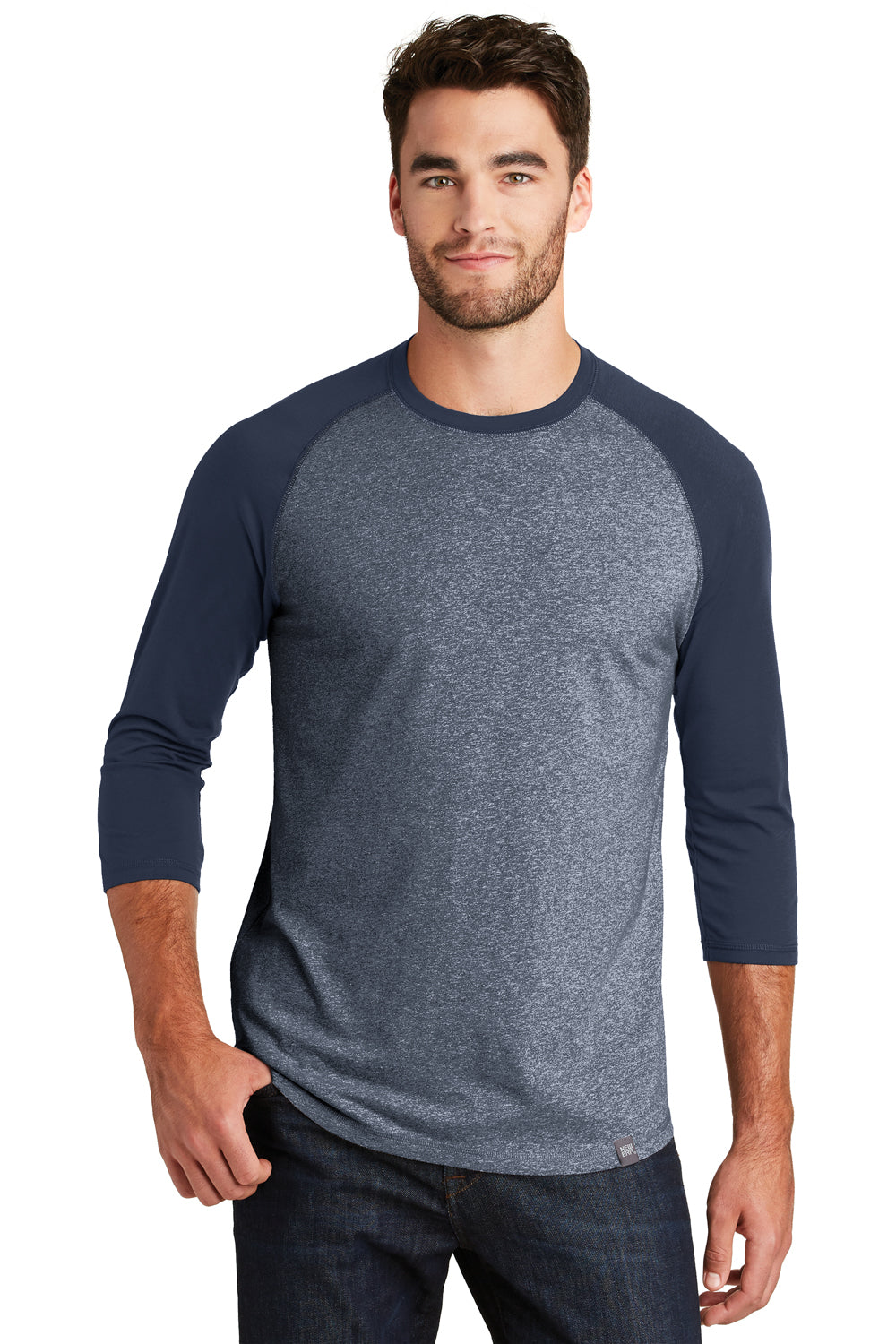 New Era NEA104 Mens Heritage 3/4 Sleeve Crewneck T-Shirt Navy Blue/Navy Blue Twist Front
