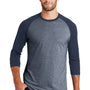 New Era Mens Heritage 3/4 Sleeve Crewneck T-Shirt - Navy Blue/Navy Blue Twist