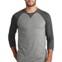 New Era Mens Sueded 3/4 Sleeve Crewneck T-Shirt - Heather Black/Heather Shadow Grey