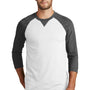 New Era Mens Sueded 3/4 Sleeve Crewneck T-Shirt - Heather Black/White