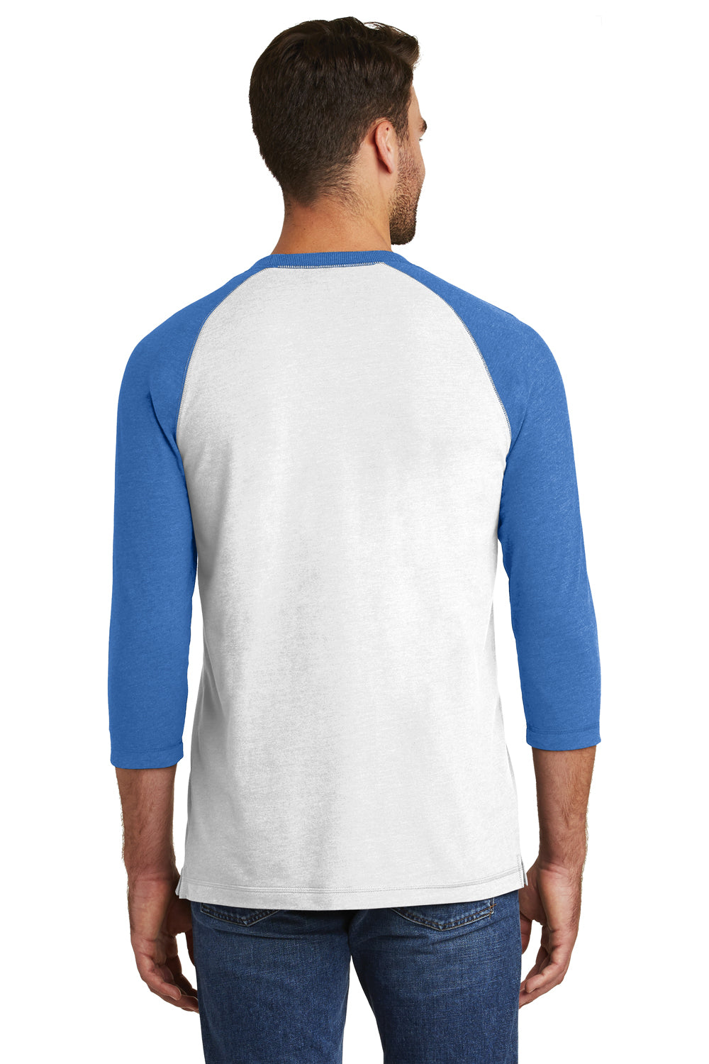 New Era NEA121 Mens Sueded 3/4 Sleeve Crewneck T-Shirt Heather Royal Blue/White Back