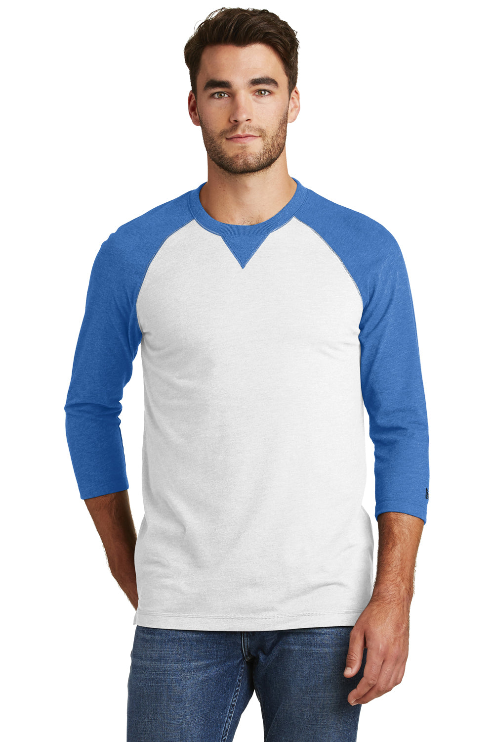 New Era NEA121 Mens Sueded 3/4 Sleeve Crewneck T-Shirt Heather Royal Blue/White Front