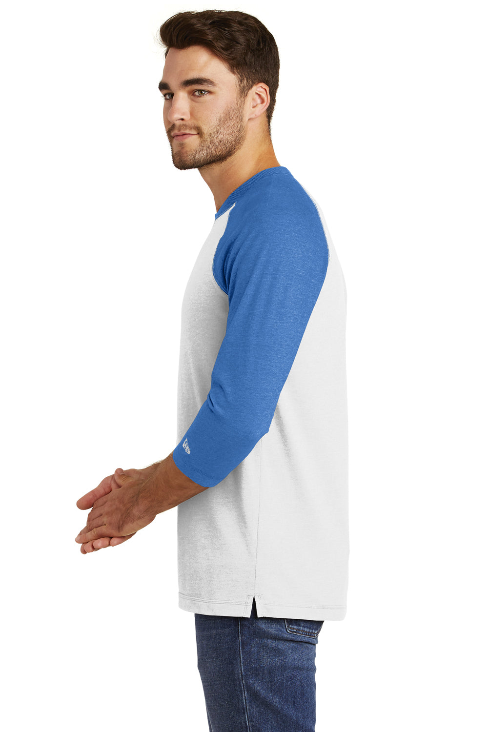 New Era NEA121 Mens Sueded 3/4 Sleeve Crewneck T-Shirt Heather Royal Blue/White Side