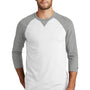 New Era Mens Sueded 3/4 Sleeve Crewneck T-Shirt - Heather Shadow Grey/White