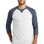 New Era Mens Sueded 3/4 Sleeve Crewneck T-Shirt - Heather Navy Blue/White