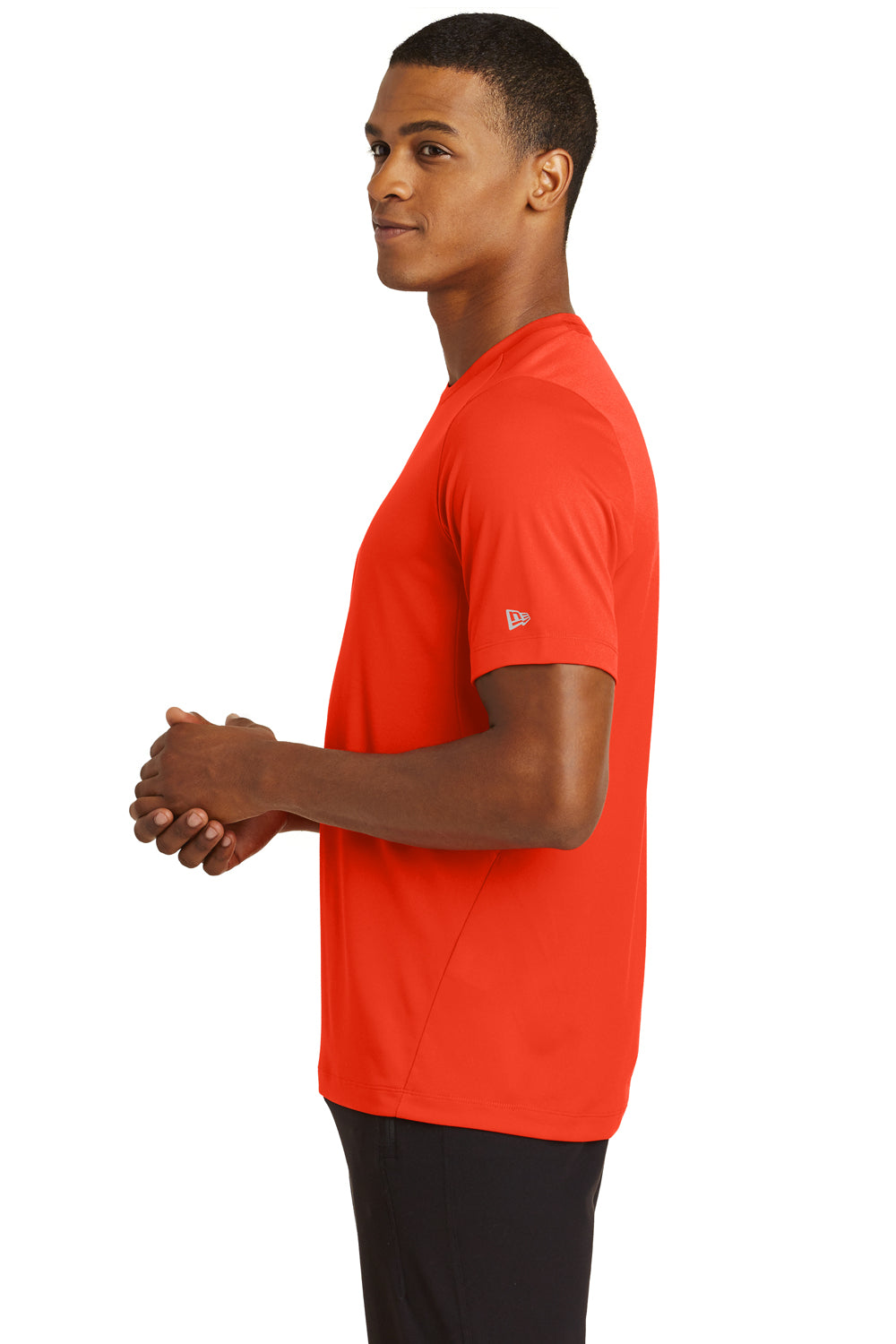 New Era NEA200 Mens Series Performance Jersey Moisture Wicking Short Sleeve Crewneck T-Shirt Orange Side