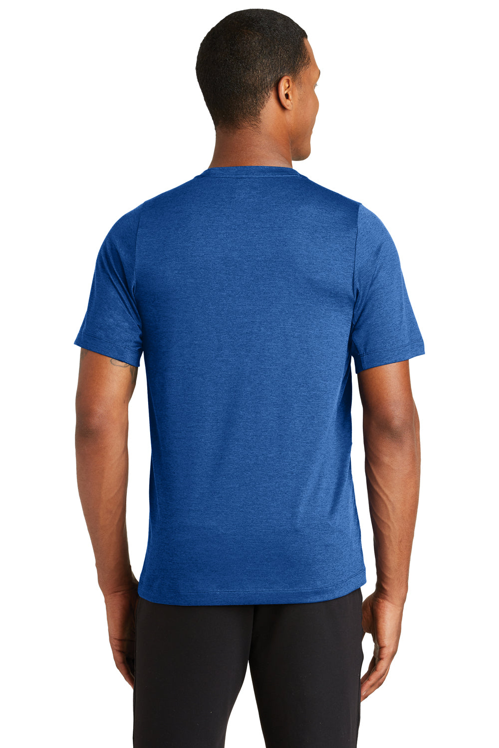 New Era NEA200 Mens Series Performance Jersey Moisture Wicking Short Sleeve Crewneck T-Shirt Royal Blue Back