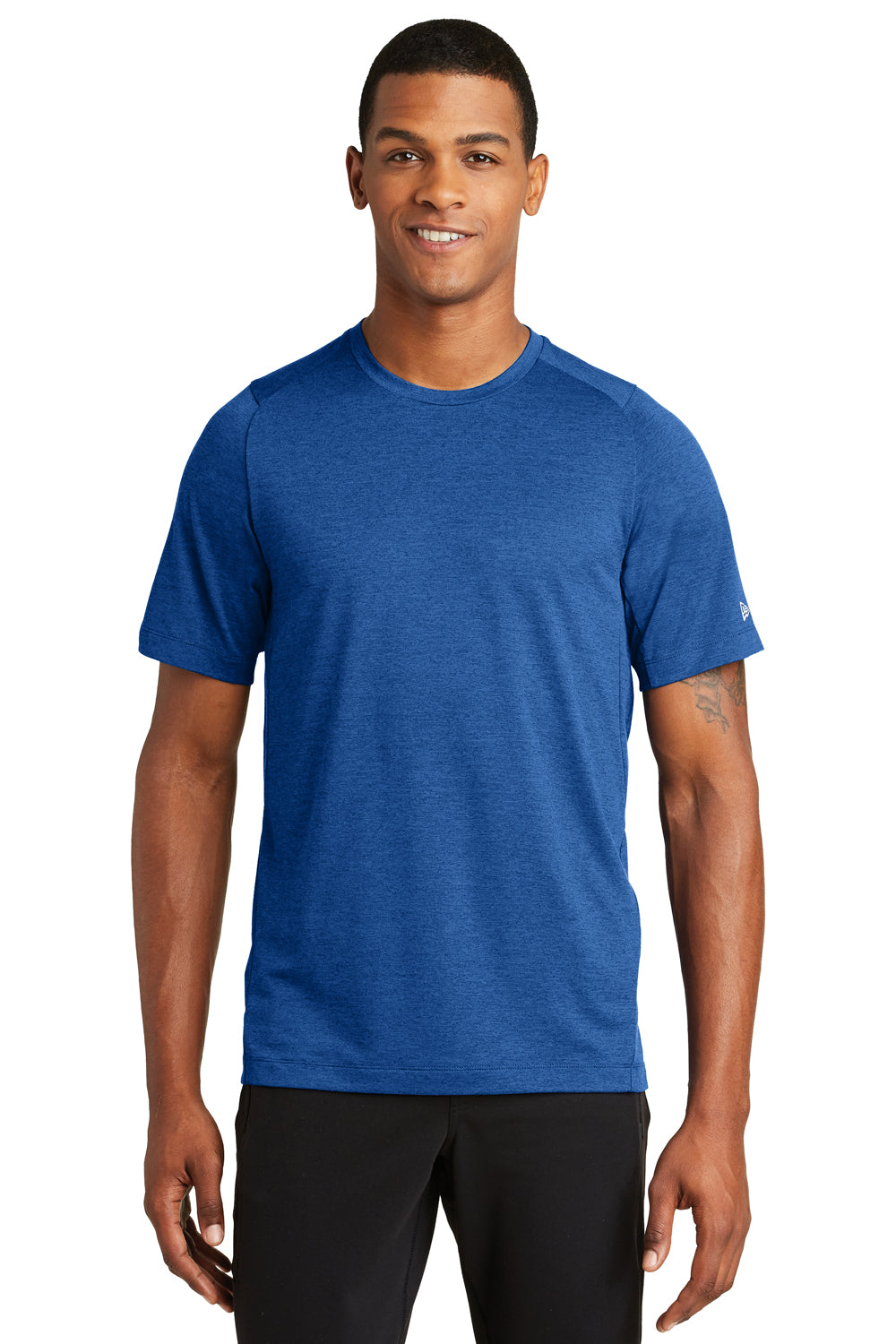 New Era NEA200 Mens Series Performance Jersey Moisture Wicking Short Sleeve Crewneck T-Shirt Royal Blue Front