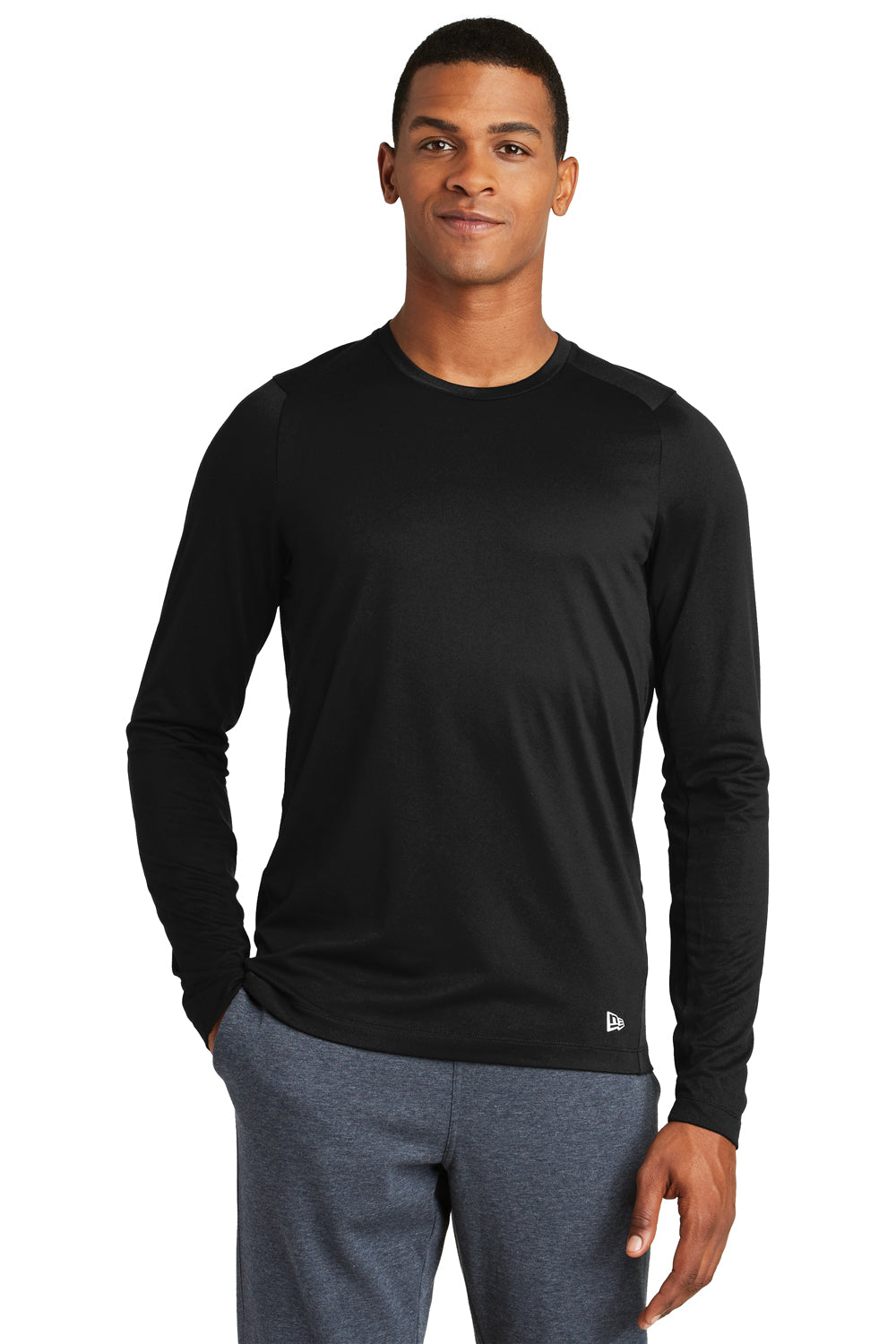 New Era NEA201 Mens Series Performance Moisture Wicking Long Sleeve Crewneck T-Shirt Black Front