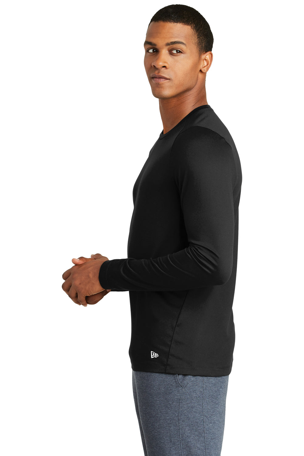 New Era NEA201 Mens Series Performance Moisture Wicking Long Sleeve Crewneck T-Shirt Black Side