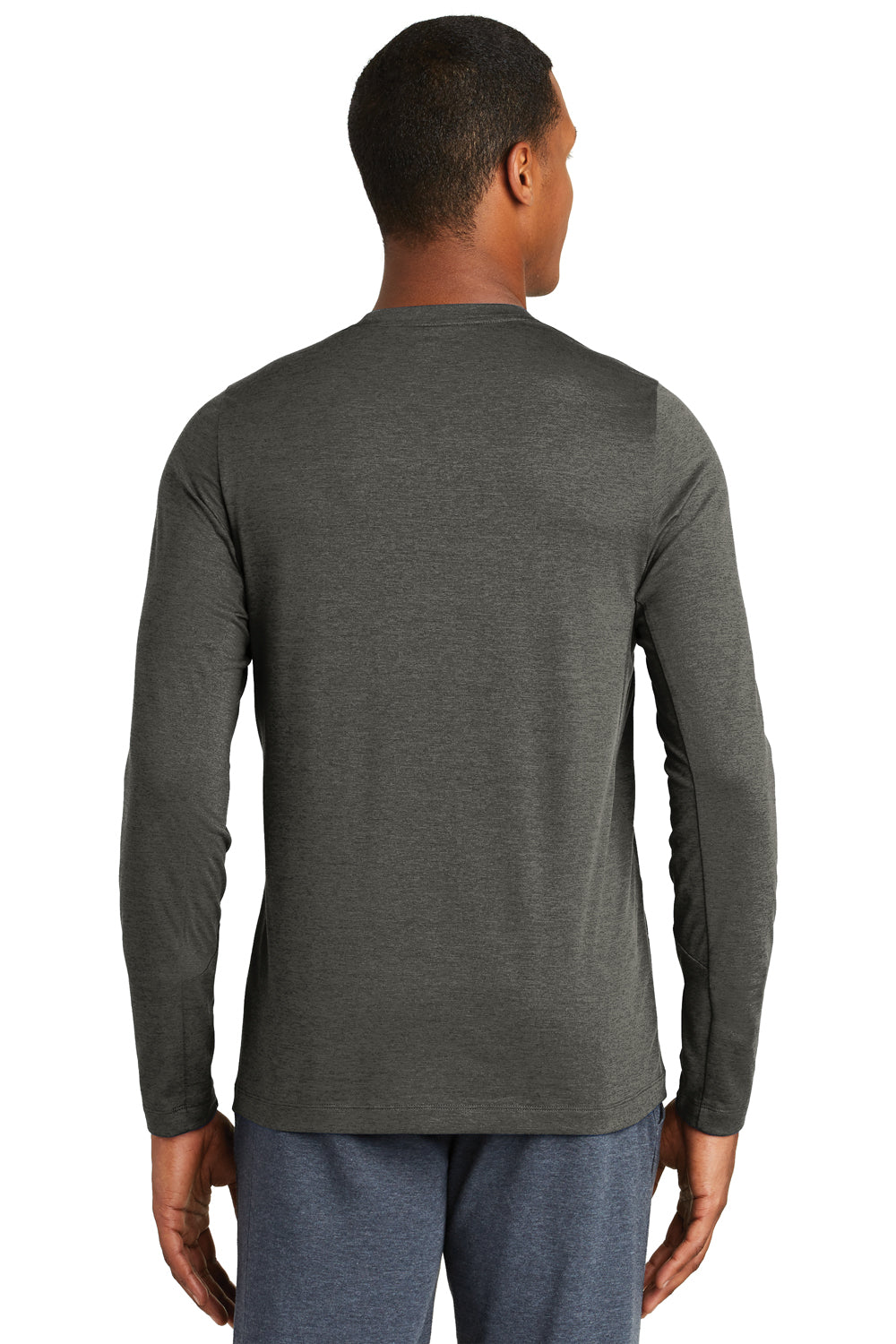 New Era NEA201 Mens Series Performance Moisture Wicking Long Sleeve Crewneck T-Shirt Graphite Grey Back