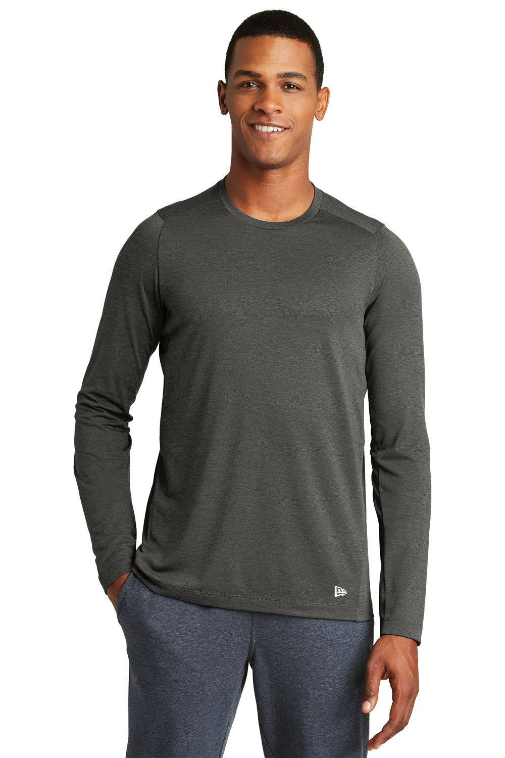 New Era NEA201 Mens Series Performance Moisture Wicking Long Sleeve Crewneck T-Shirt Graphite Grey Front