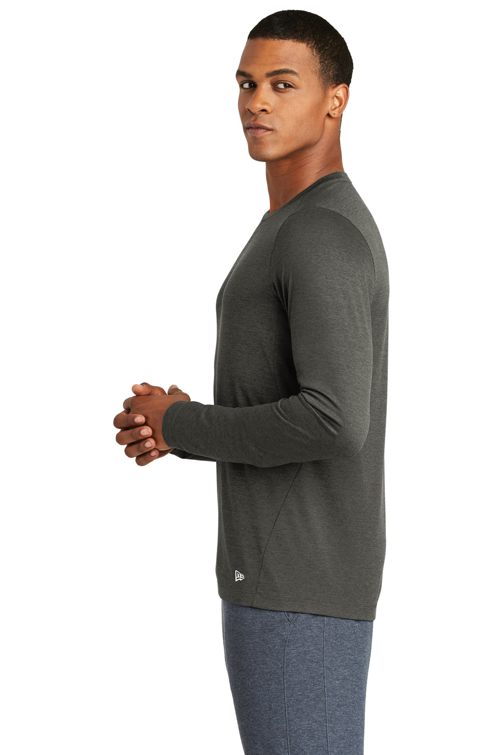 New Era NEA201 Mens Series Performance Moisture Wicking Long Sleeve Crewneck T-Shirt Graphite Grey Side