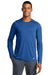 New Era NEA201 Mens Series Performance Moisture Wicking Long Sleeve Crewneck T-Shirt Royal Blue Front