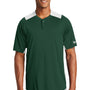 New Era Mens Diamond Era Moisture Wicking Short Sleeve Jersey - Dark Green/White