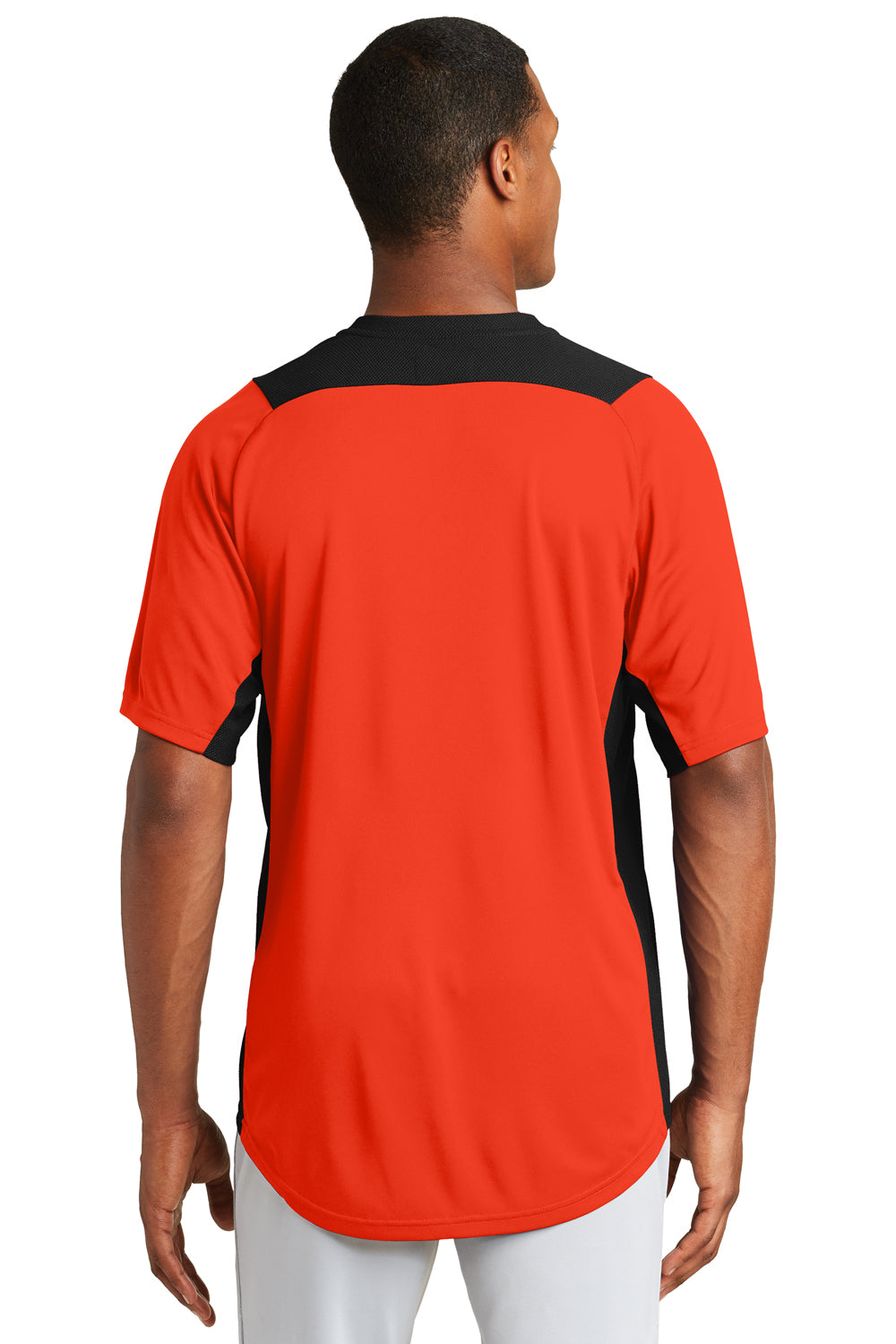 New Era NEA221 Mens Diamond Era Moisture Wicking Short Sleeve Jersey Orange/Black Back