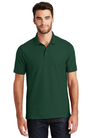 New Era NEA300 Mens Venue Home Plate Moisture Wicking Short Sleeve Polo Shirt Forest Green Front