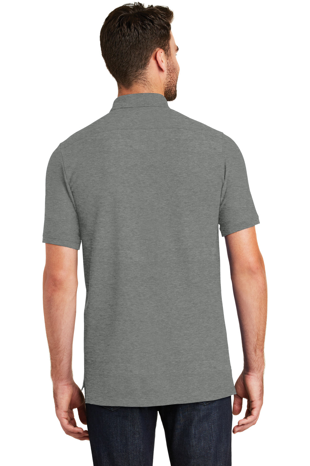 New Era NEA300 Mens Venue Home Plate Moisture Wicking Short Sleeve Polo Shirt Heather Graphite Grey Back