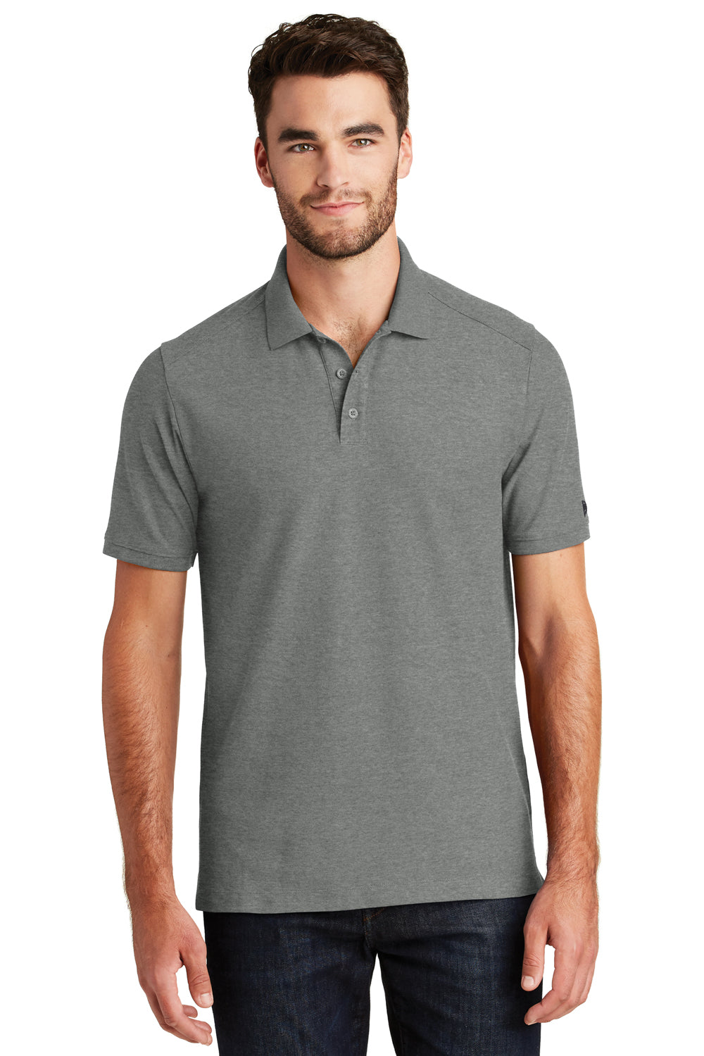 New Era NEA300 Mens Venue Home Plate Moisture Wicking Short Sleeve Polo Shirt Heather Graphite Grey Front