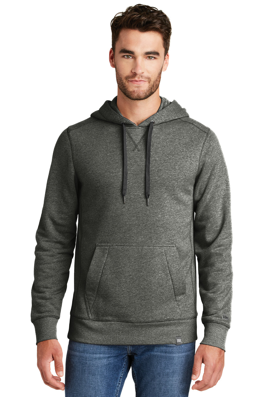 New Era NEA500 Mens Sueded French Terry Hooded Sweatshirt Hoodie Black Twist Front