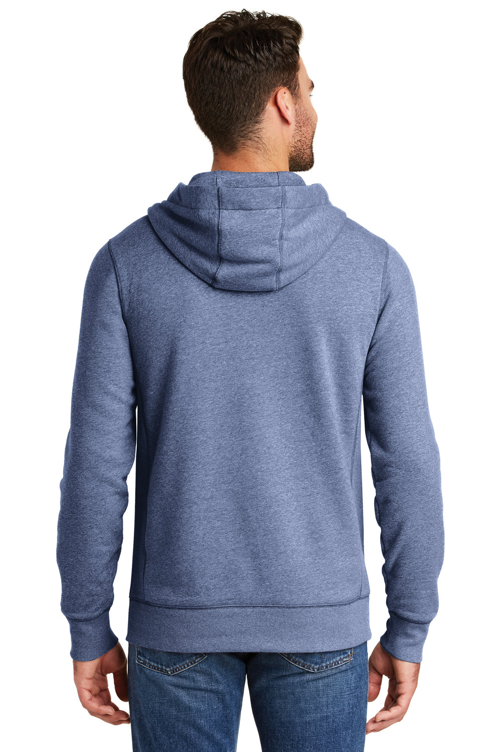 New Era NEA500 Mens Sueded French Terry Hooded Sweatshirt Hoodie Dark Royal Blue Twist Back