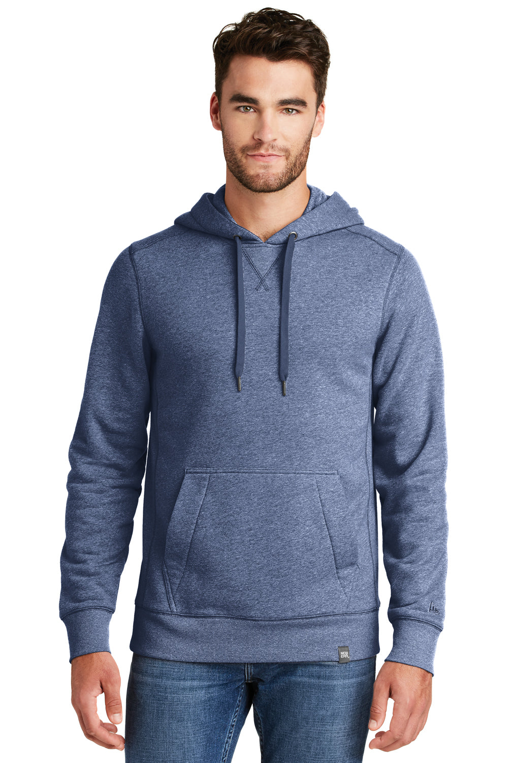 New Era NEA500 Mens Sueded French Terry Hooded Sweatshirt Hoodie Dark Royal Blue Twist Front